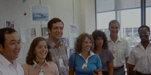 The Challenger 7 crew (L-R): Ellison S. Onizuka Barbara Morgan, Dick Scobee Christa McAuliffe Judith Resnik Mike Smith and Ronald McNair.