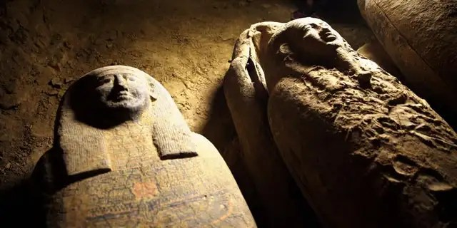 The coffins have not been opened for 2,500 years, according to archaeologists.