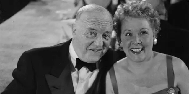 Actress Vivian Vance poses with co-star William Frawley during the Emmy Awards in Los Angeles, Calif., circa 1955.