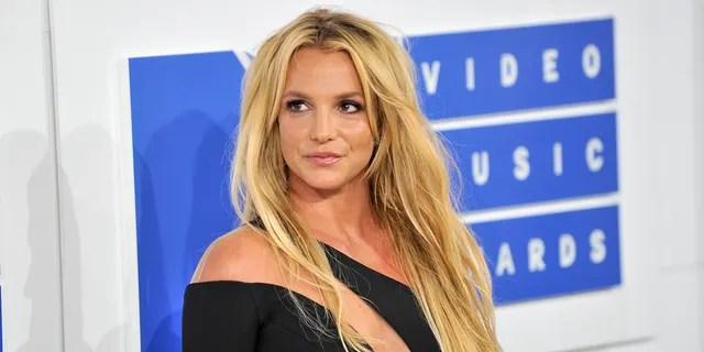 Britney Spears also strutted her stuff in a skintight catsuit. (Allen Berezovsky/WireImage)