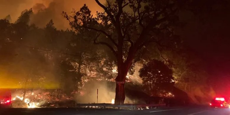 The Glass Fire burning near St. Helena in Napa County, California spurred mandatory evacuations and has burned at least 800 acres.