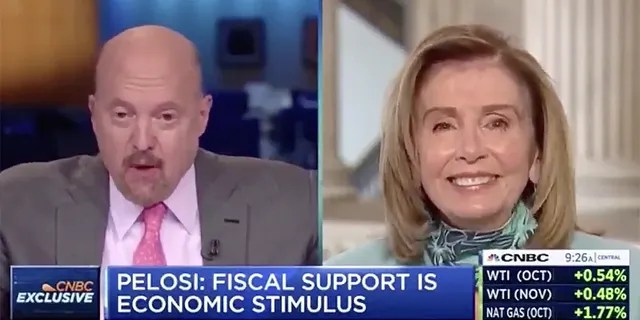 """CNBC host Jim Cramer shocked viewers on Tuesday morning when he called House Speaker Nancy Pelosi """"Crazy Nancy"""" to her face during a live interview."""