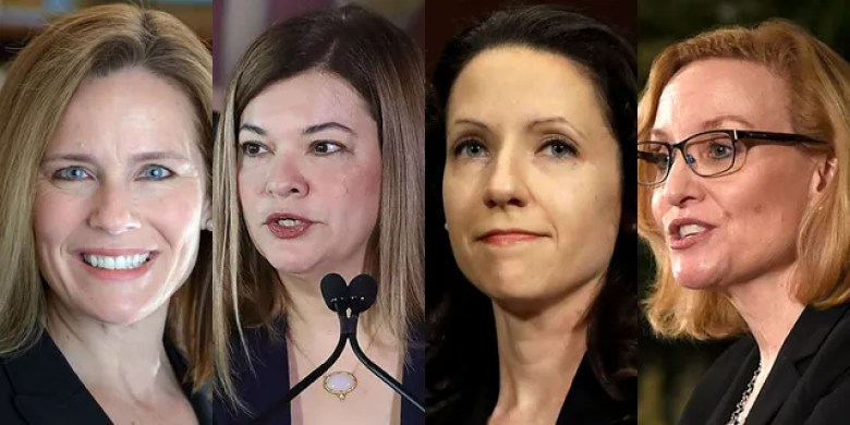 """7th U.S. Circuit Court of Appeals Judge Amy Coney Barrett; 11th Circuit Judge Barbara Lagoa; 4th Circuit Judge Allison Jones Rushing and 6th Circuit Judge Joan Larsen are the top contenders for President Trump's Supreme Court nomination.<br data-cke-eol=""""1"""">"""