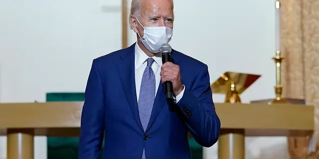 Democratic presidential candidate former Vice President Joe Biden speaks as he meets with community members at Grace Lutheran Church in Kenosha, Wis., Thursday, Sept. 3, 2020. (AP Photo/Carolyn Kaster)
