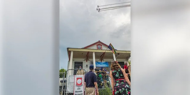 The military flyover greeted Lawrence Brooks on his 111th birthday in New Orleans.