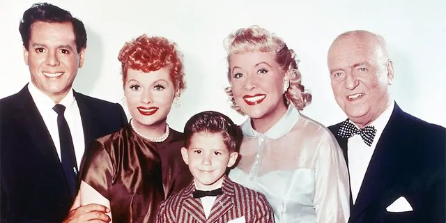 From left: Desi Arnaz (1917-1986), Lucille Ball (1911-1989), Keith Thibodeaux, Vivian Vance (1909-1979) and William Frawley (1887-1966) pose for a photo issued for the US television series 'I Love Lucy', circa 1955.