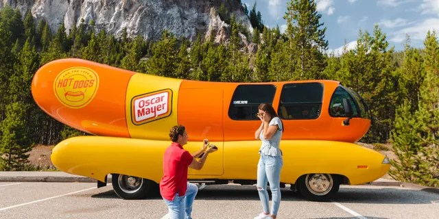 One hotdogger grabbed attention last fall after proposing to his girlfriend in front of the Wienermobile at Yellowstone National Park.(Oscar Mayer)