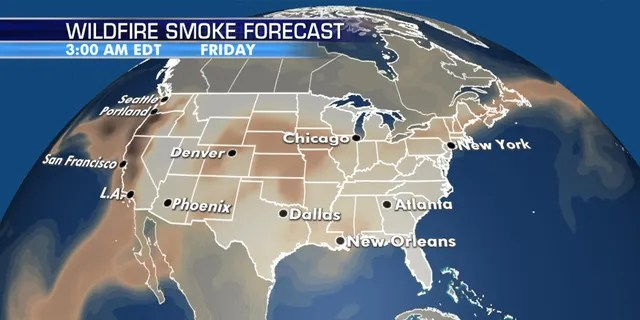 The wildfire smoke forecast through the rest of the week.
