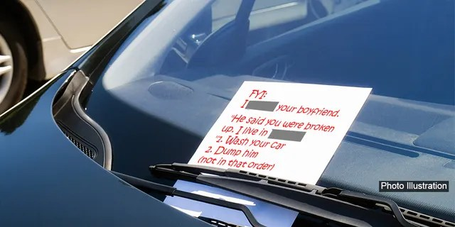 A woman received a brutal note on her car from her neighbor who said she had slept with the woman's boyfriend.