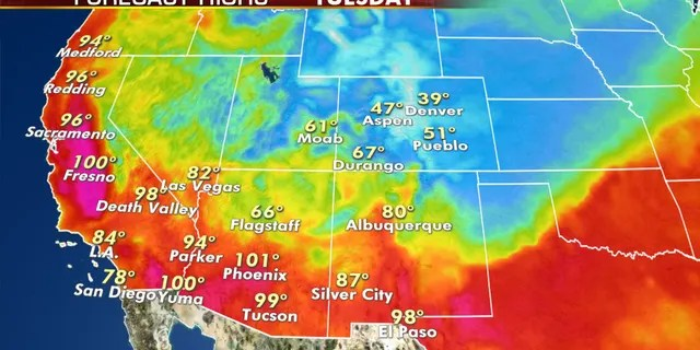 Forecast high temperatures for Tuesday, Sept. 8, 2020.