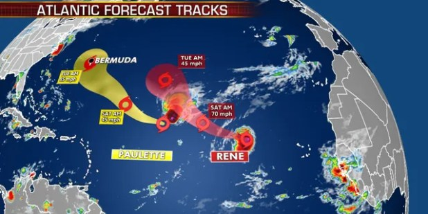 Forecast track of Tropical Storm Paulet and René.