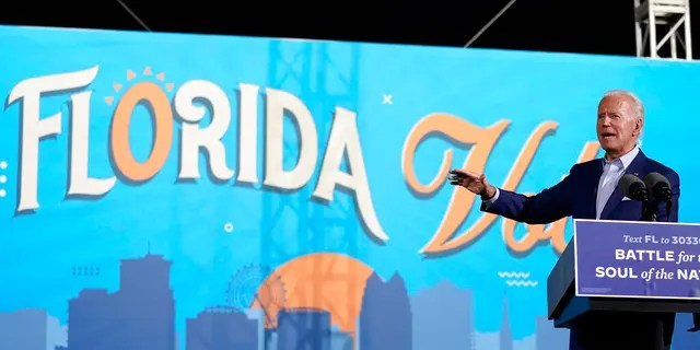 Democratic presidential candidate former Vice President Joe Biden speaks at a drive-in rally at the Florida State Fairgrounds, Thursday, Oct. 29, 2020, in Tampa, Fla. (AP Photo/Andrew Harnik)