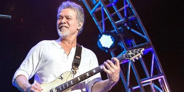 Guitarist Eddie Van Halen of Van Halen performs on stage at Sleep Train Amphitheatre on Sept. 30, 2015 in Chula Vista, Calif. (Getty Images)