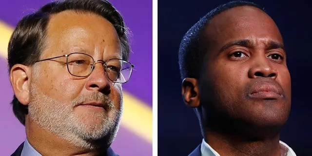 In this combination of 2018 and 2019 file photos are, from left, Democratic U.S. Sen. Gary Peters, D-Mich., and Republican U.S. Senate candidate John James. Money is abundant in Michigan's competitive U.S. Senate race between Peters and James. A campaign-finance expert projects spending will top a staggering $100 million by Election Day. (AP Photos)