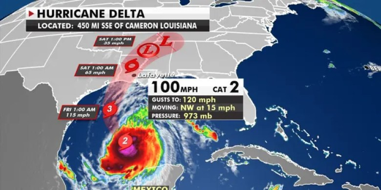 The forecast track of Hurricane Delta.