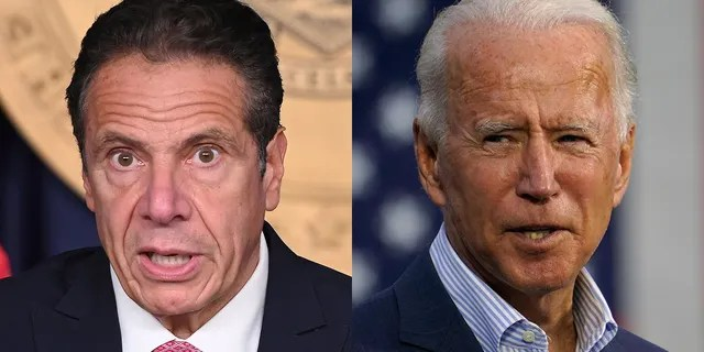 New York Gov. Andrew Cuomo, left, and President Biden.