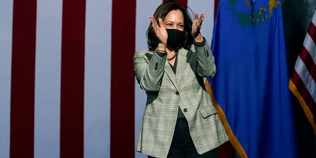 Democratic vice presidential candidate Sen. Kamala Harris, D-Calif., reacts after speaking at a drive-in campaign event Friday, Oct. 2, in Las Vegas. (AP Photo/John Locher)