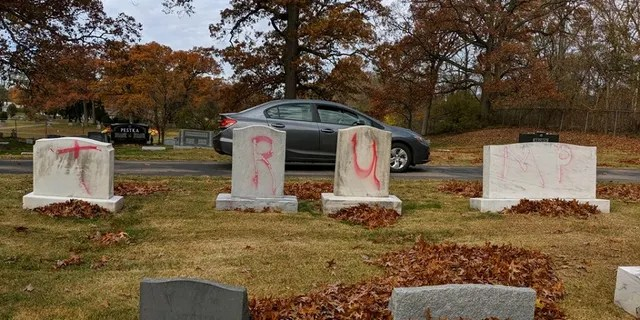 Headstones at the Congregation Ahavas Israel cemetery in Grand Rapids, Mich., were found vandalized Monday with pro-Trump slogans a day before the president is scheduled to appear at a rally in the city to close out his re-election campaign.