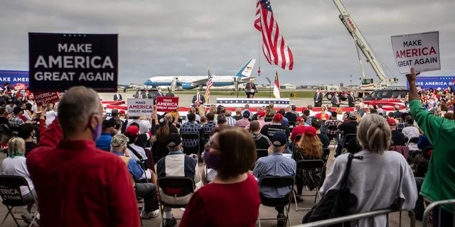 Vice President Mike Pence speaks during a campaign event at the Piedmont Triad International Airport in Greensboro, N.C., Tuesday, Oct. 27, 2020.