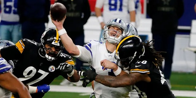Pittsburgh Steelers' Cameron Heyward (97) and Bud Dupree, right, rush as Dallas Cowboys quarterback Garrett Gilbert (3) attempts to throw a pass in the second half of an NFL football game in Arlington, Texas, Sunday, Nov. 8, 2020. (AP Photo/Michael Ainsworth)