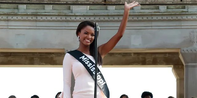Miss Mississippi 2018 Asya Branch waves to the crowd at Kennedy Plaza on August 30, 2018, in Atlantic City, New Jersey.