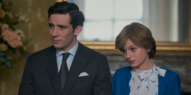 """Josh O'Connor as Prince Charles and Emma Corrin as Princess Diana in Season 4 of """"The Crown."""""""