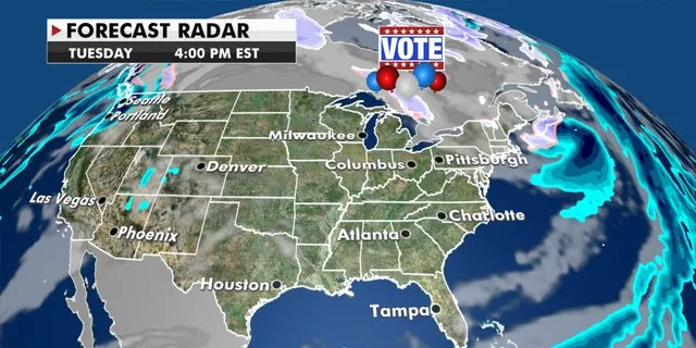 Dry conditions stretch from coast-to-coast on Election Day.