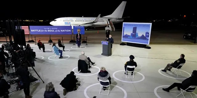 Democratic presidential candidate former Vice President Joe Biden speaks at a hangar at General Mitchell International Airport, Friday, Oct. 30, 2020, in Milwaukee.