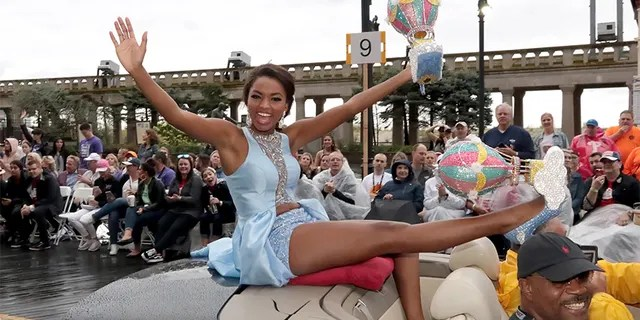 Miss Mississippi 2018 Asya Branch smiles as she takes part in the Miss America Show Us Your Shoes Parade on the Atlantic City, NJ Boardwalk, September 8, 2018, in Atlantic City, New Jersey.