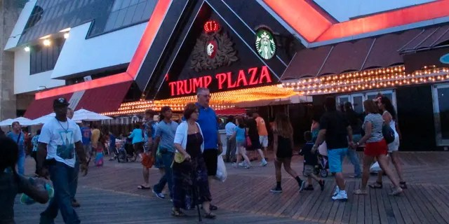 The former Trump Plaza casino in Atlantic City, N.J., in 2014. On Wednesday, Atlantic City Mayor Marty Small announced the city will auction off the right to push the button to dynamite the former casino, which is now closed, to raise money for a local youth charity. (AP)