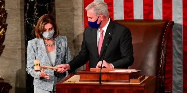 House Speaker Nancy Pelosi has been presented with the Speaker's Jewel by House Minority Leader Kevin McCarthy, R-Calif., On the opening day of the 117th Congress on Capitol Hill in Washington, DC on Sunday, January 3, 2021.