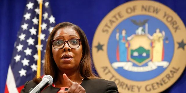 New York State Attorney General Letitia James takes a question at a news conference in New York. (AP Photo/Kathy Willens, File)