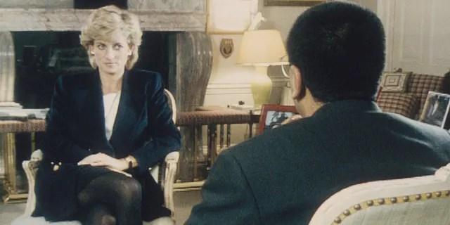 Martin Bashir interviews Princess Diana at Kensington Palace for the Panorama TV show.