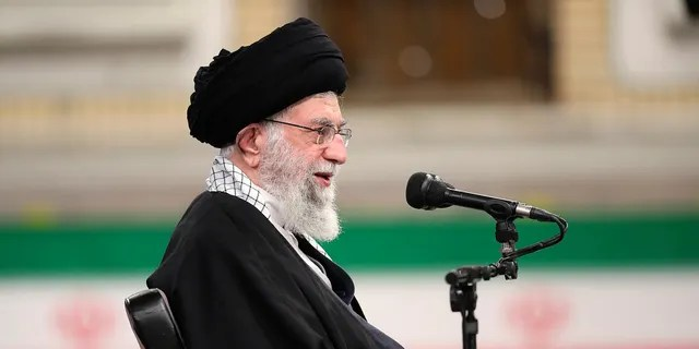 In this photo released by the official website of Iran's supreme leader's office, supreme leader Ayatollah Ali Khamenei speaks in Tehran, Iran, on Sunday, February 7, 2021 during a meeting with the Army's Air Force and Air Defense Staff.  (Iranian Supreme Leader via Office AP)