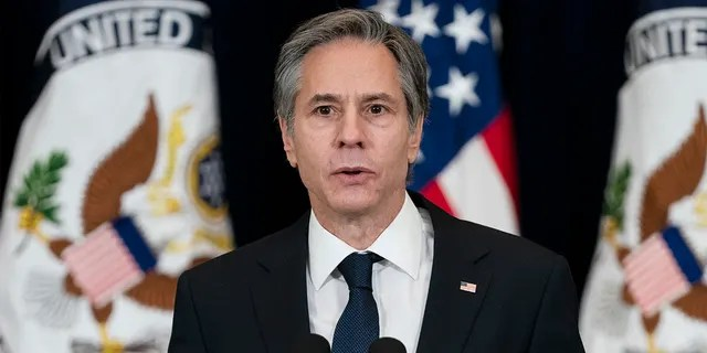 In this Feb. 4, 2021 file photo, Secretary of State Antony Blinken speaks at the State Department in Washington. Blinken and National Security Adviser Jake Sullivan held a testy meeting with their Chinese counterparts in Anchorage, Alaska earlier this year. (AP Photo/Evan Vucci, File)