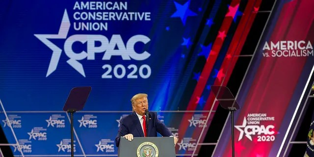 FILE - President Donald Trump speaks during the annual Conservative Political Action Conference (CPAC) at Gaylord National Resort & Convention Center February 29, 2020 in National Harbor, Maryland. (Photo by Tasos Katopodis/Getty Images)