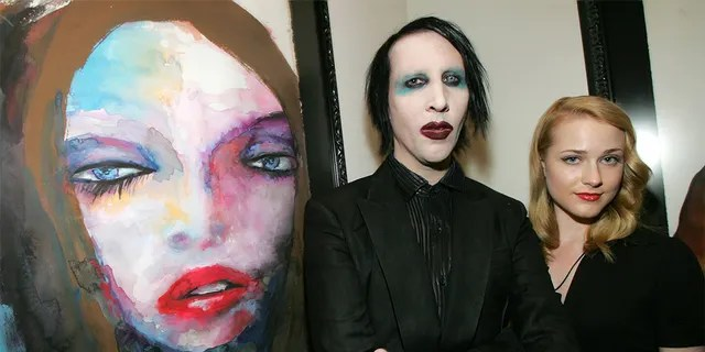 """Actress Evan Rachel Wood (right) accused rocker Marilyn Manson (left) of """"horrifically abusing"""" her. The two were engaged in 2010."""