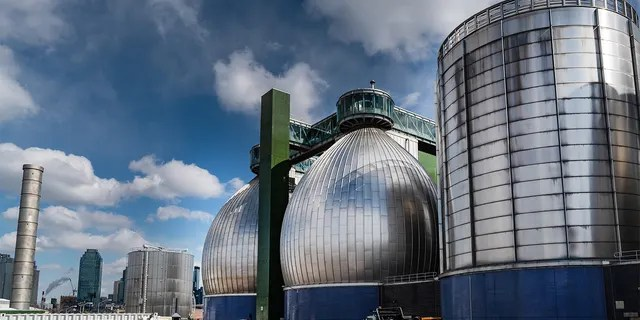 The Department of Environmental Protection Digestive Eggs stands in Newtown Creek Wastewater Resource Recovery Facility in Brooklyn.