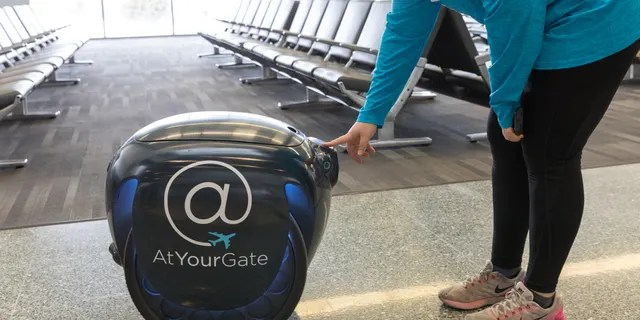 Philadelphia International Airport on Monday launched a robotic food delivery program using the Geeta robot.