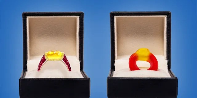 London-based jeweler Taylor & Hart's candy-inspired ring (left) costs $ 34,300.