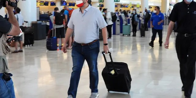 Sen. Ted Cruz (R-TX) checks for a flight at Cancun International Airport on his Mexican family holiday as his home state of Texas since a winter storm struck Cancun, Quintana Ruo, Mexico on February 18, 2021.  (Photo by MEGA / GC Images)