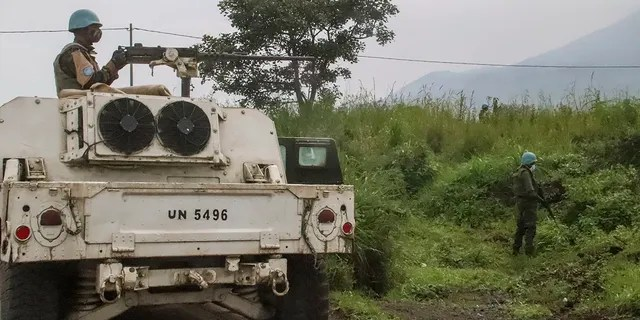The UN peacekeepers defend the area where the UN convoy was attacked and the Italian ambassador to the Congo was killed.  (AP Photo / Justin Kabumba)