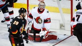 Dube gets 1st hat trick, Flames beat Senators 7-3