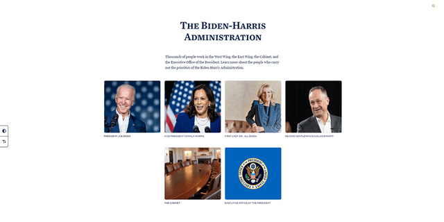 "The ""administration"" tab on the White House's official website."