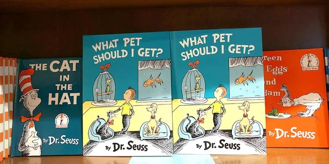 """CORAL GABLES, FL - JULY 28: Dr. Seuss' never-before-published book, """"What Pet Should I Get?"""" is seen on display. (Photo by Joe Raedle/Getty Images)"""