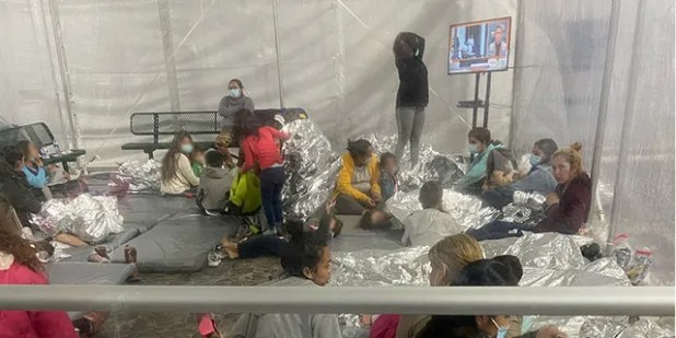 Images of migrants taken on Friday, March 26, 2021, at the Donna Customs and Border Protection (CBP) facility in Texas.  Sen. Mike Braun, Republican of Indiana, took the photos while touring the facility with other Republican senators.