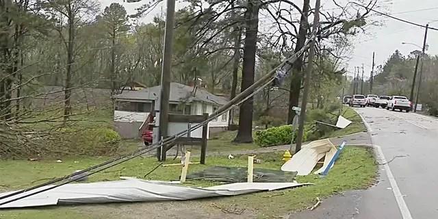 Heavy storm damage in Alabaster, Alabama