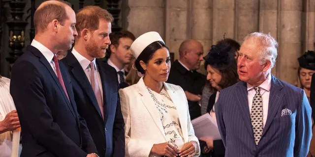 From left: Prince William, Prince Harry, Meghan Markle and Prince Charles. (Richard Pohler/AFP via Getty Images)