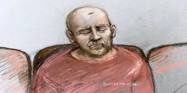 Wayne Couzens, in this sketch, makes his first appearance at the Old Bailey court by video link from Belmarsh top-security jail in London in March. (Elizabeth Cook/PA/AP)