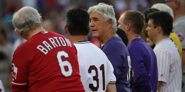 Rep. Roger Williams (R-TX) (3rd L) talks to Rep. Joe Barton (R-TX) (L) prior to the 56th Annual Congressional Baseball Game for Charity at the National Park June 15, 2017 in Washington, DC.